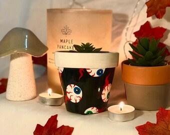 Hand-Painted Halloween Eyeball Spooky Black and White Design Plant Pot | 100% Terracotta Plant Pot