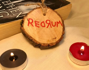 Natural Sustainably-Sourced Wood Log Slice | Hand-Painted REDRUM The Shining Log Design | Horror | The Shining | Stephen King | Fiver Friday