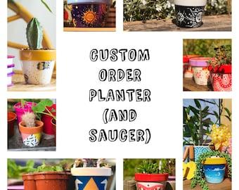 Personalised Custom Order Design Planter | Consultation | 100% Terracotta Plant Pot | Handmade Gift