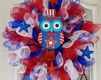 Handmade Deco Mesh Wreath Owl 4th July American Red White Blue Summer