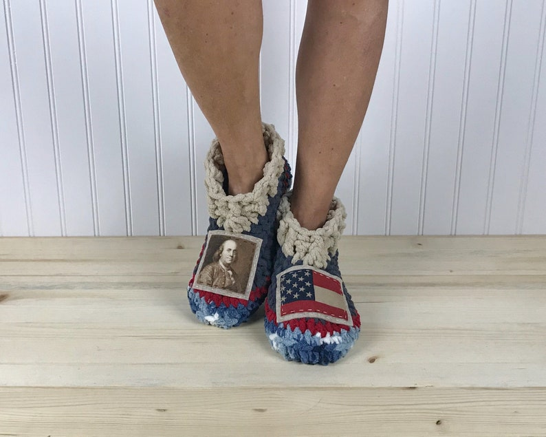 5a3755a5a Ben Franklin Slippers - Cozy Chenille Slipper Socks - History Buff Booties  - Get Well Care Package - Neuropathy - CRPS - Foot Pain Relief