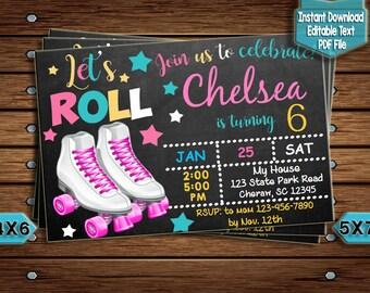 Roller Skates Invite Etsy