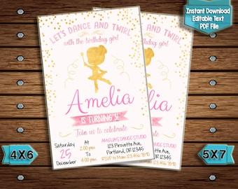 Ballerina invites etsy ballerina birthday invitation ballet birthday party pink gold tutu birthday party personalized digital invitations filmwisefo
