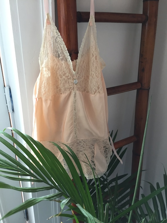 Vintage 30s/ Silky, Peach Nylon and Lace/ One-Piec