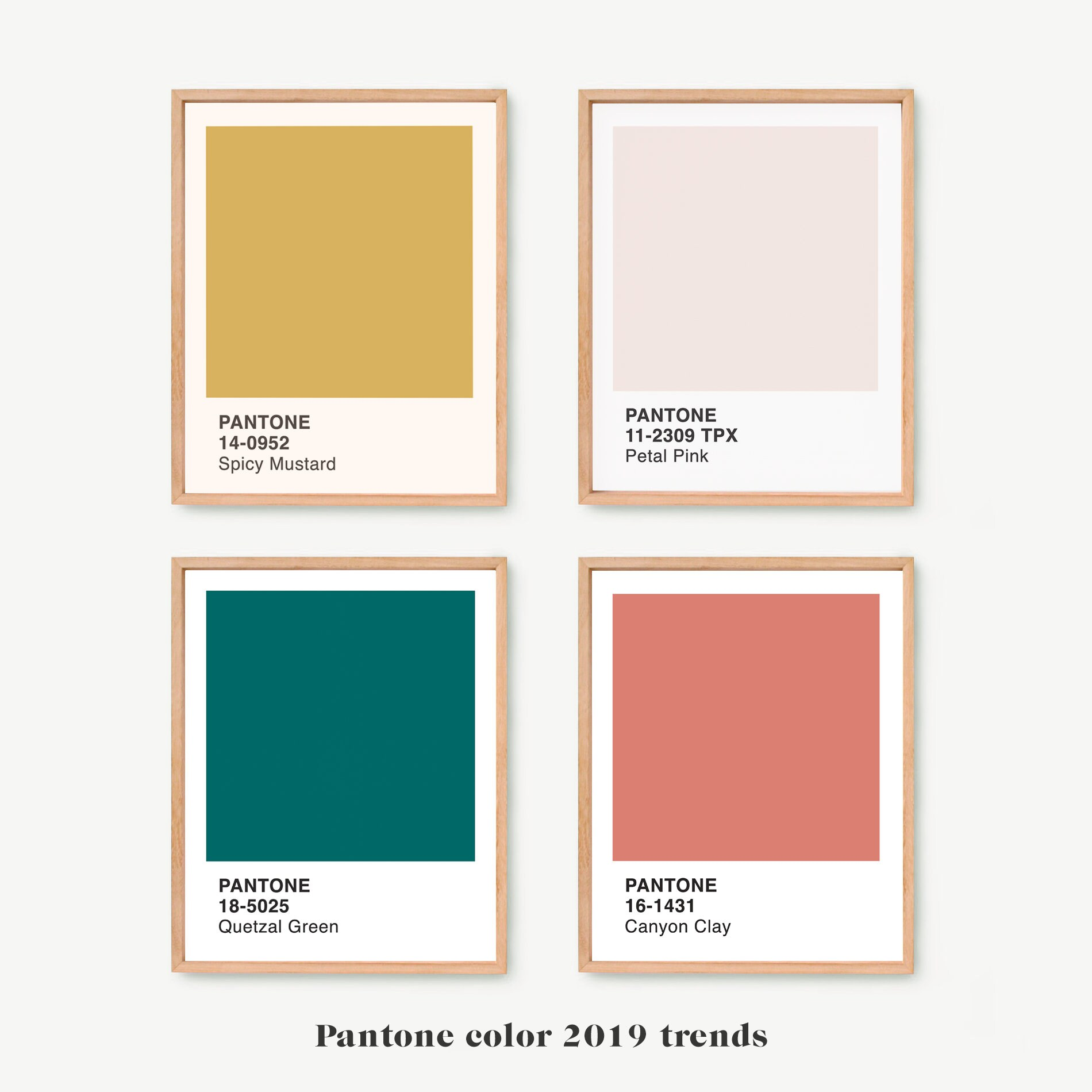 Fall Home Decor Trends 2019: Pantone 2019 Prints Wall Art Set Of 4 Pantone Colors Art