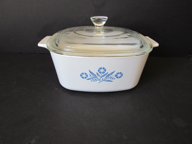 Corning Bakeware Vintage Corning Ware White Square Casserole Dish With LidBlue Cornflower Pattern A-1.5 L