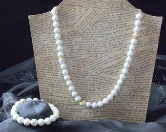 White ceramic beaded necklace and bracelet