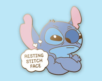 30bff73774e Lilo   Stitch Pin - Resting Stitch Face - Disney - Hard Enamel Pin