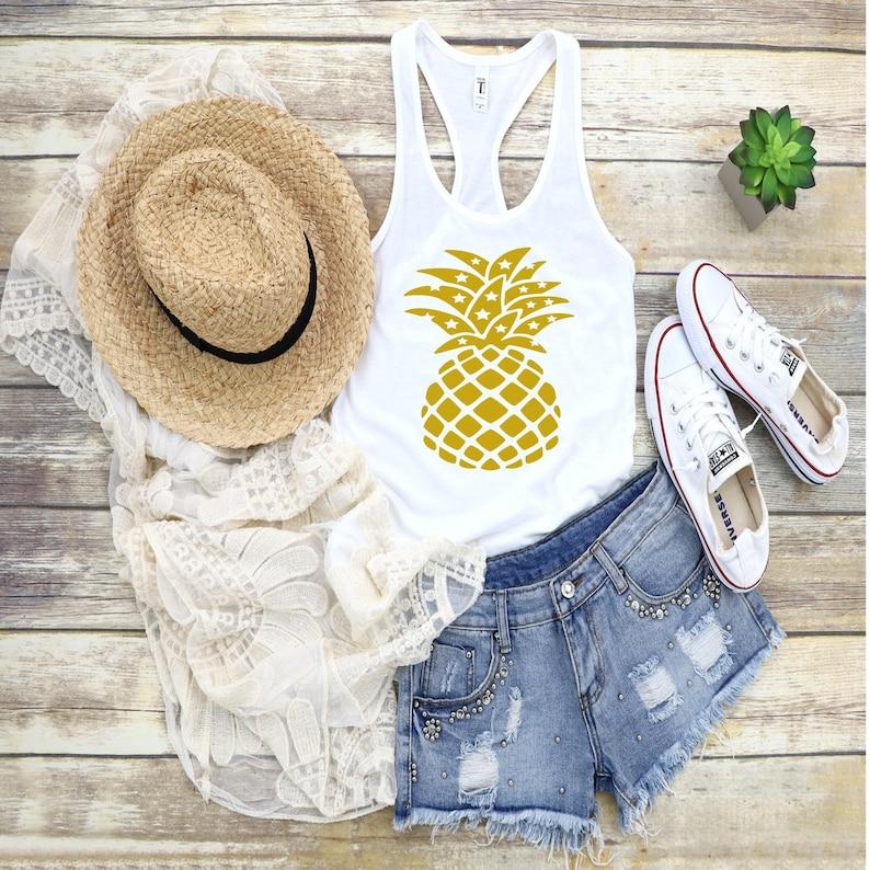 Gold Pineapple Shirt  Women/'s graphic shirts  Pineapple Shirts  Hawaii Shirts  Aloha Shirts  Bachelorette Shirts