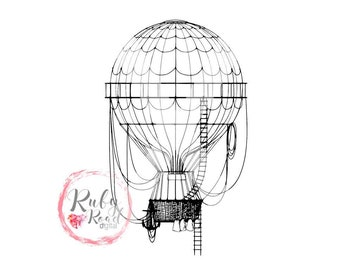 Hot Air Balloon, Hot Air Balloon SVG, Balloon SVG, Vintage Hot Air Balloon, Vintage SVG, Cut File, Silhouette Cameo, Cricut, dxf,jpg,pdf