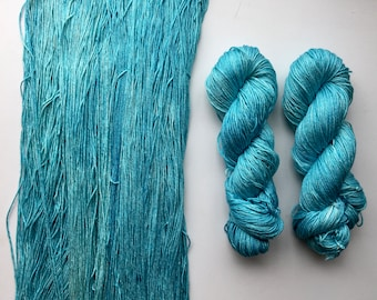 Vintage Skeins of French Linen Thread 50 Meters Aqua Blue in Color