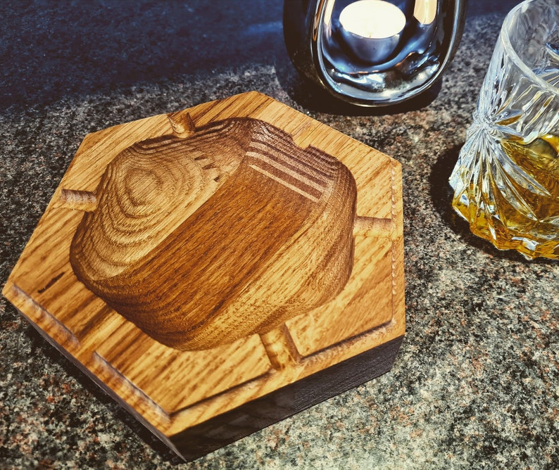Cigar Ashtray  Solid English Oak Carved 6 x 6 image 0