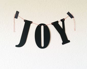Joy Black Banner Custom Word Garland Wall Hanging Minimalist Words of Wisdom