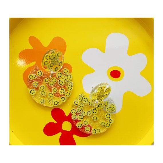 Tabitha Earrings | Yellow Smiley Faces