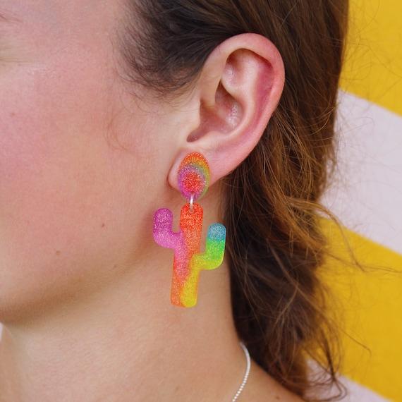 Kacey Earrings | Rainbow Tie Dye