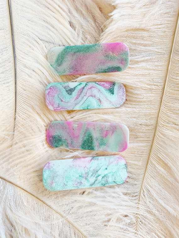 Hair Clips | Mint Marble