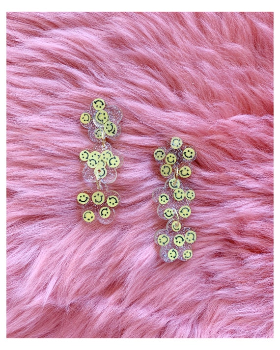 Sammy Earrings | Yellow Smiley Faces