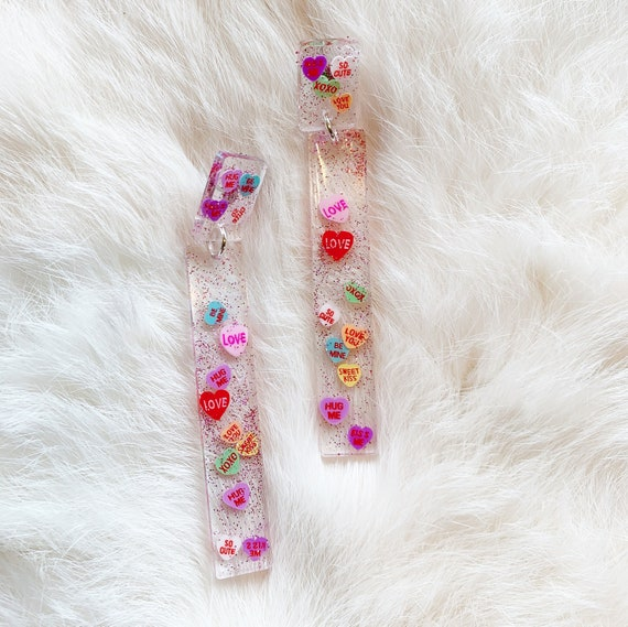 Olivia Earrings | Conversation Hearts