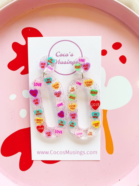 Baby Zooey Hoops | Conversation Hearts