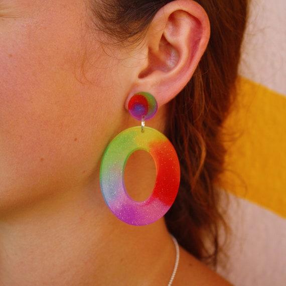 Big Sophie Hoops | Rainbow Tie Dye