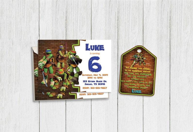 Teenage Mutant Ninja Turtles TMNT Turtle Invitations Birthday Ninjas