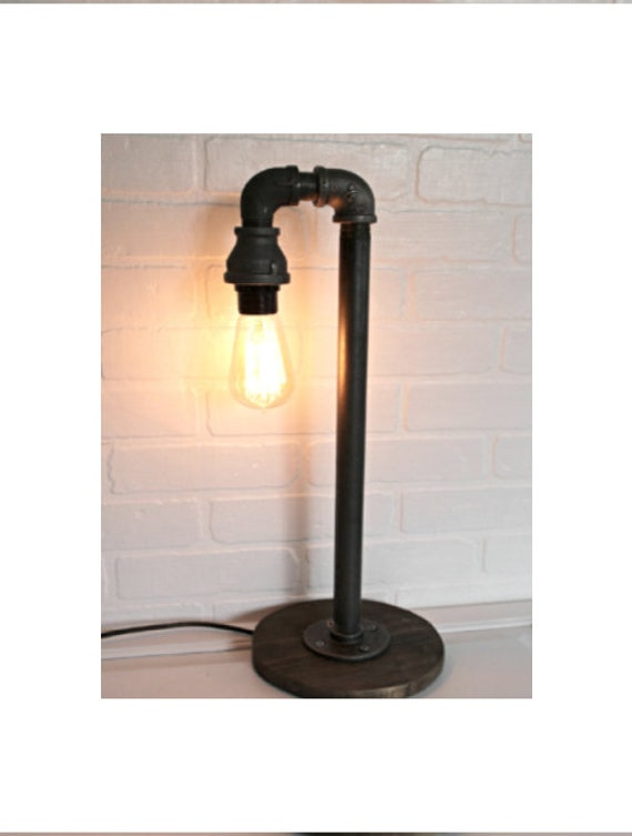 Industrial Pipe Table Lamp Single Edison Bulb Farmhouse Etsy