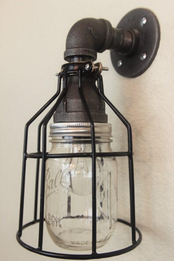 purchase cheap a95d8 822be Mason Jar Wall Sconce Industrial Pipe - Black Bathroom vanity lighting,  porch light, garage light industrial lighting, steampunk farmhouse