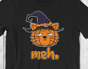 a849c486 Halloween Cat T-Shirt | Cute Cat | Witch | Meh | Kitten | Cattitude | Cat  Lover | Cat Mom | Kitty | Gift