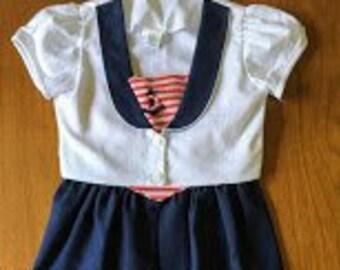 4460d201d Vintage Peaches n' Cream Nautical Dress and Coat