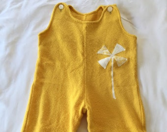 Vintage Yellow Knit Onesie with Pinwheel