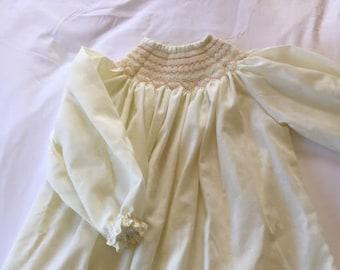Vintage Handmade Cream Smocked Dress