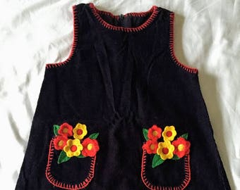 Vintage B.T. Kids Navy Corduroy Dress