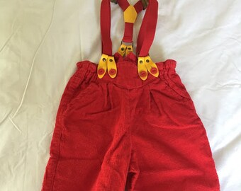 Vintage K.C.'s Kids Red Overalls and Suspenders