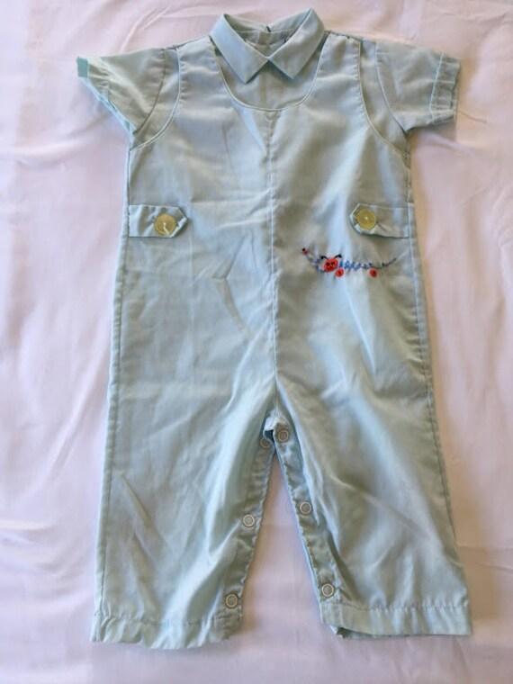 Vintage Longalls bleu fauve avec broderie chenille