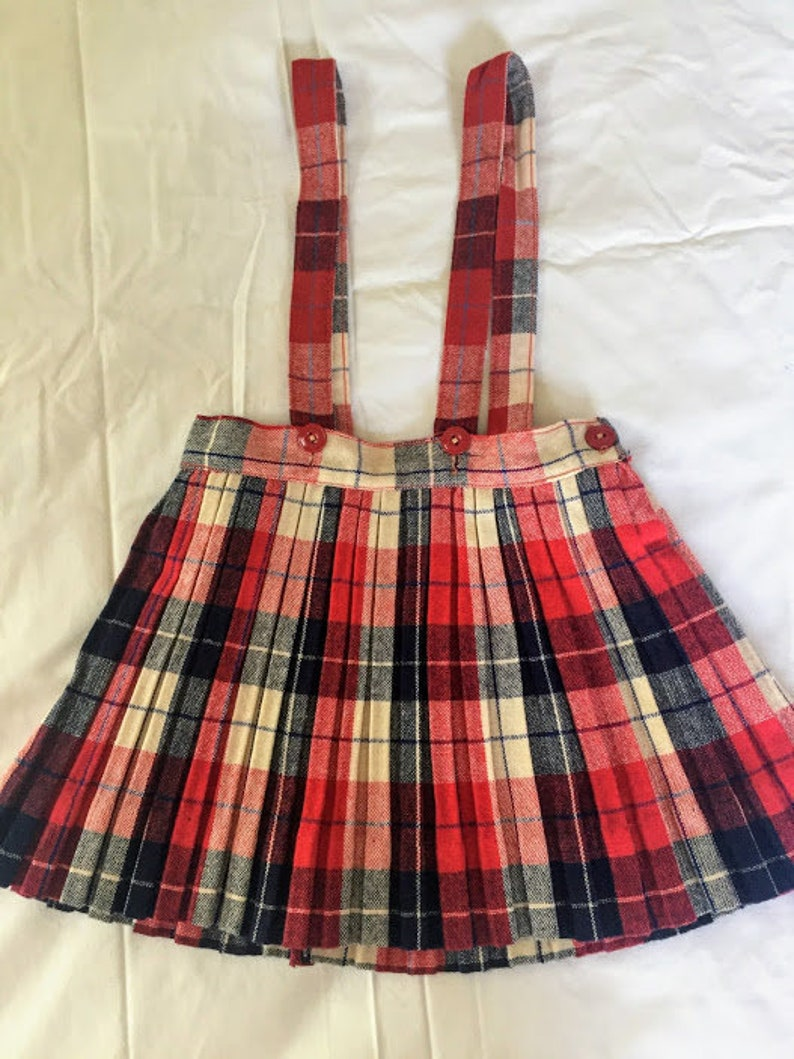 a74f340e433 Vintage Plaid Skirt with Overalls