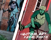 Custom art from photo   Personalized drawing in comic style
