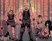 Custom family portrait in comic style   Personalised illustration