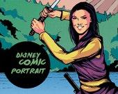 Custom Disney Comic Portrait   Digital commission in comic style