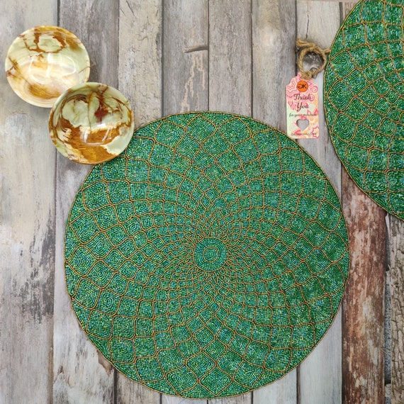 "Size 15/""Set of 2 GAURI KOHLI Moroccan Lattice Glass Beaded Table Placemats"