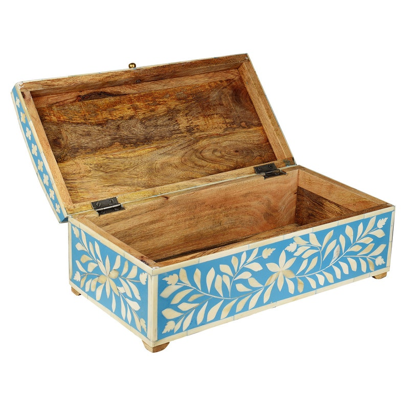 Handcrafted Bone Inlay Decorative Box in Ocean Blue Color Large Size   16 X 8