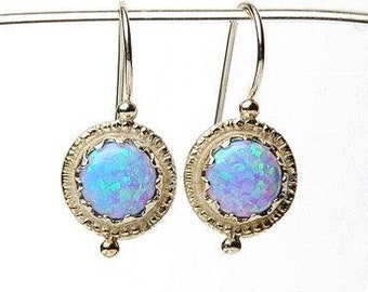 Round Opal Silver Earrings