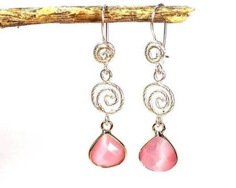 Long Pink Crystal Earrings
