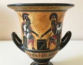 Ancient Greek Black-Figure Krater with Achilles and Aias playing