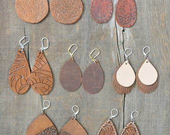 Beautiful Handmade Genuine Leather Earrings Variety to Choose From