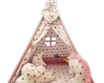 Spielzeug für draußen Tipi Teepee 6 Zubehör Spielzelt Kinder Zelt Indianerzelt Kissen Decke Grau-Mint