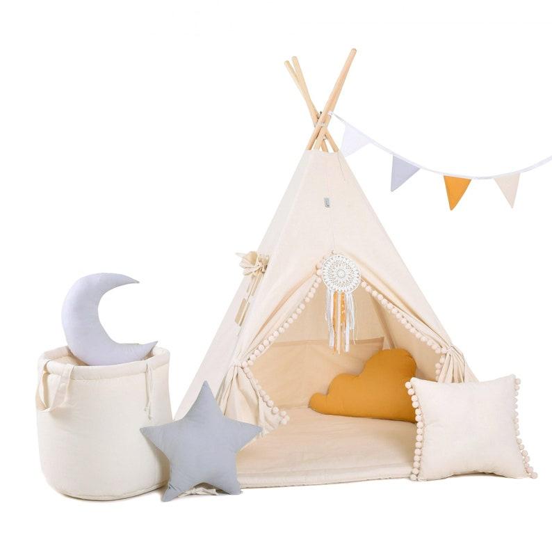 Kit teepee tipi beige pour enfants - Créatrice ETSY : RainbowKids333