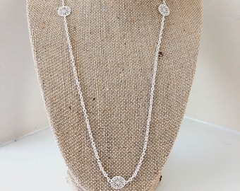Elegant Nickel Free Silver Cable Chain Necklace with Floral Charms