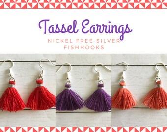 Tassel Earrings Red | Purple | Peach