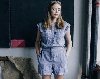Linen Overalls Women, casual summer short jumpsuit, romper with pockets, button down jumpsuit