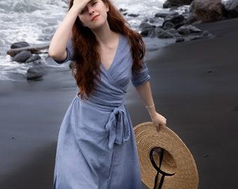 EMILY Linen Wrap Dress, Linen Midi Dress, Linen Dress with Pockets and Sleeves